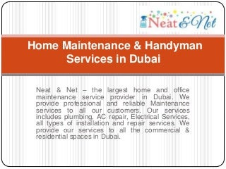 Home maintenance & handyman services in dubai