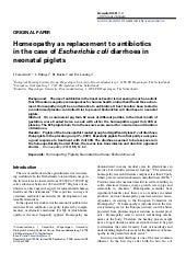 Homeopathy as replacement to antibiotics in the case of Escherichia coli diarrhoea in neonatal piglets