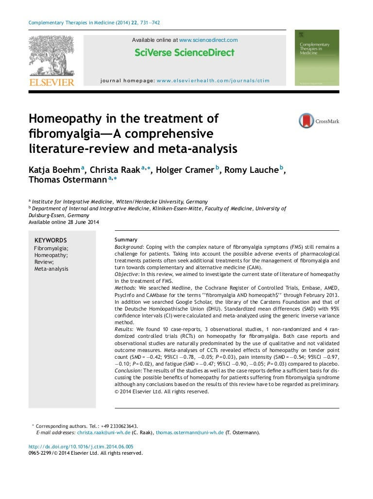 homeopathy in the treatment of fibromyalgia a comprehensive literatur