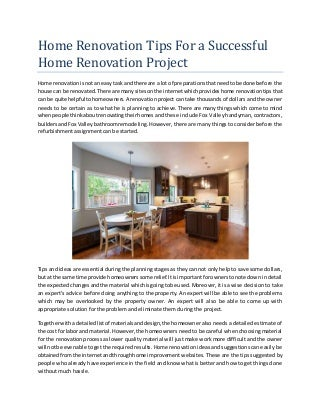 Home renovation tips for a successful home renovation project