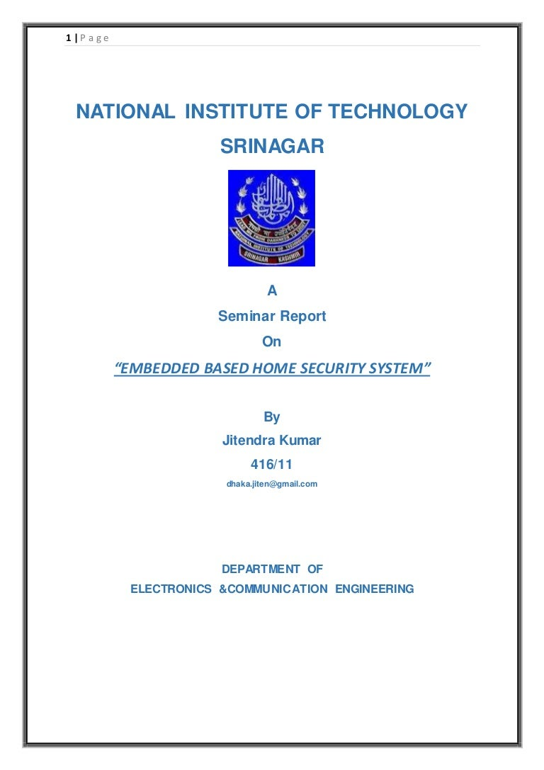 Report On Embedded Based Home Security System Alarms Entry Alarm Circuit