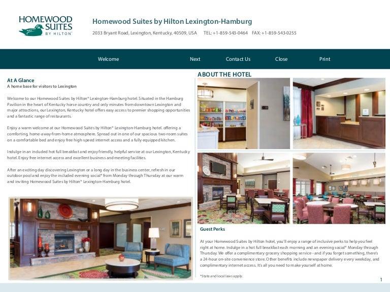 Homewood Suites Lexington Hamburg KY Hotel eBrochure