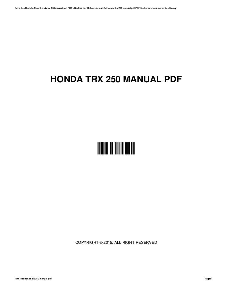 honda trx 300 manual pdf