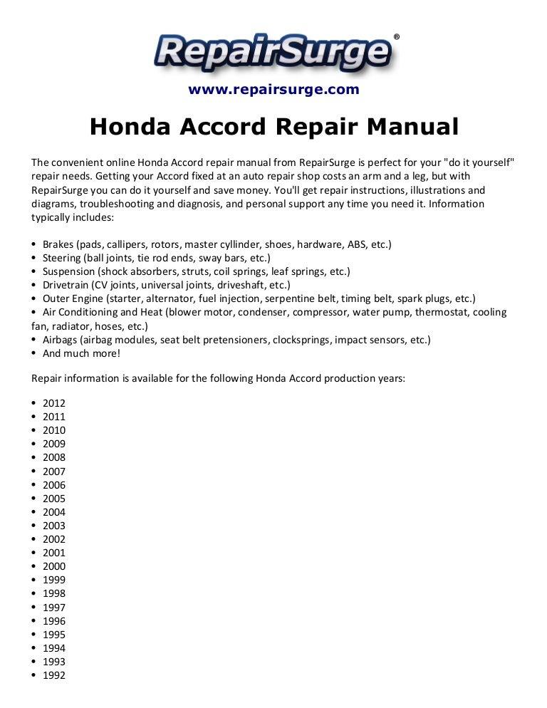 honda accord repair manual 1990 2012 rh slideshare net honda accord 2005 owners manual pdf honda accord 2005 v6 owners manual