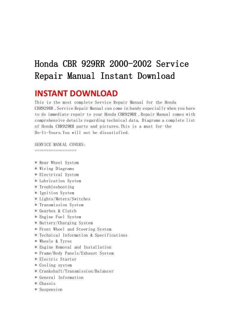 honda cbr 929 rr 2000 2002 service repair manual instant download rh slideshare net manual cbr 929rr 2001 manual honda cbr 929 rr
