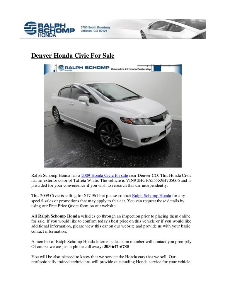 Ralph Schomp Honda >> Honda Civic For Sale In Denver Co
