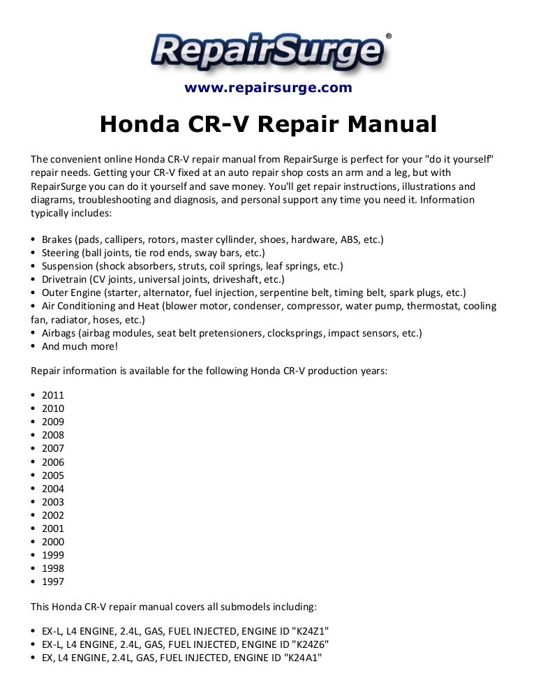 2007 Honda Crv Maintenance Schedule Manual Images Gallery
