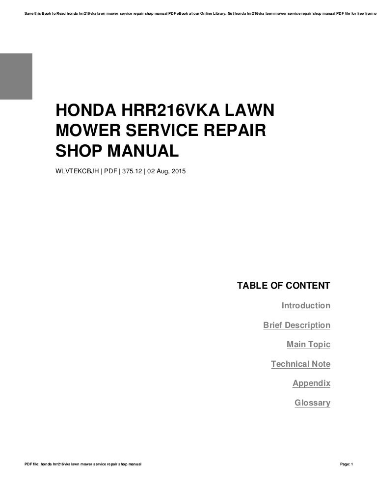 honda hrr216vka lawn mower service repair shop manual