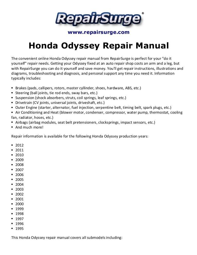 honda odyssey repair manual 1995 2012 rh slideshare net Honda Odyssey Transmission Problems 2012 honda odyssey owners manual pdf