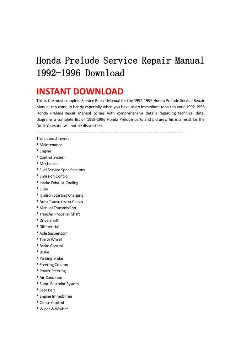 Honda Prelude Service Repair Manual 1992 1996 Download Engine