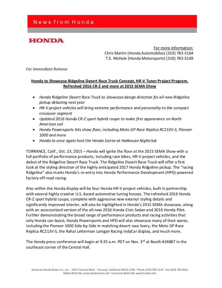Honda Sema 2015 Preview Release