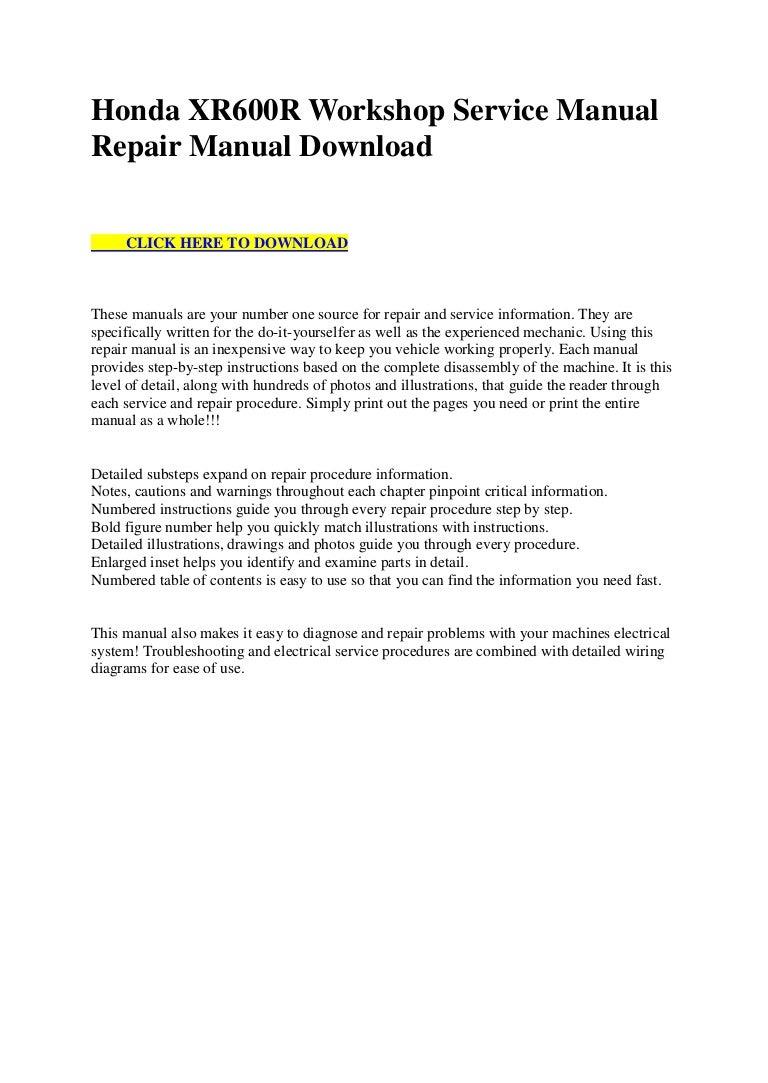 Honda Xr600 R Workshop Service Manual Repair Download Xr600r Wiring Diagram