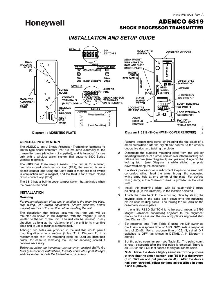 Honeywell 5819-install-guide
