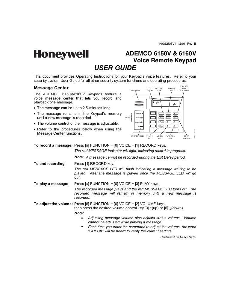 Honeywells 6160 user guide alarm grid.