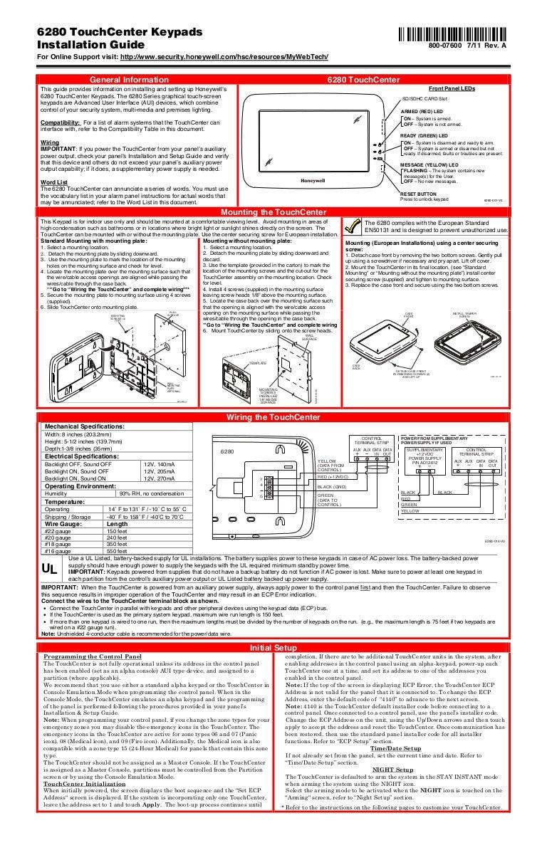 Honeywell 6280 Install Guide Ecp Wiring Diagram