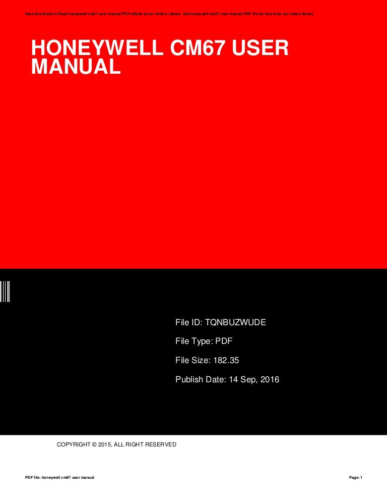 Honeywell chronotherm cm67 manual.
