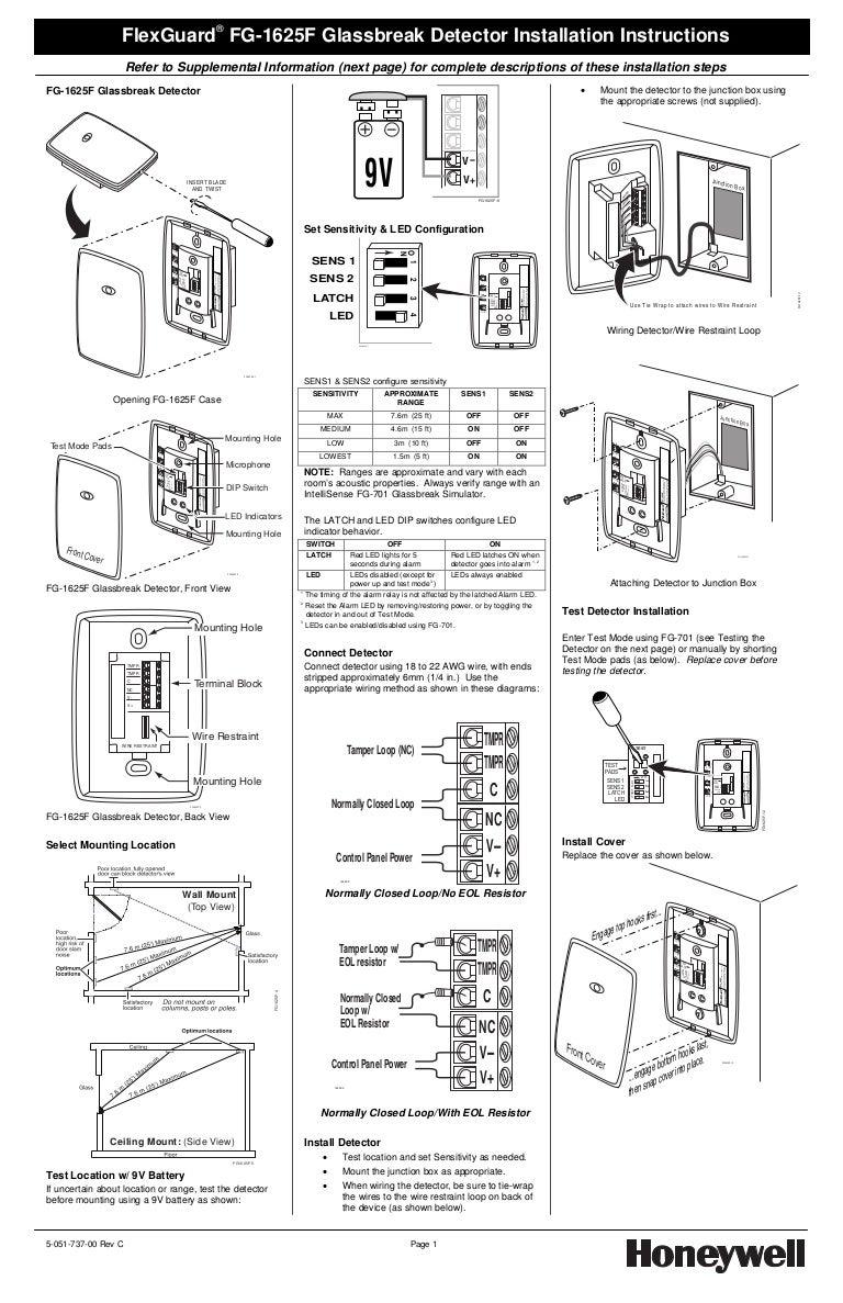 Honeywell fg1625f-install-guide