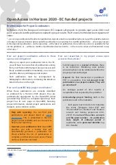 OpenAIRE factsheet: Open Access in Horizon 2020 (for Project Coordinators)