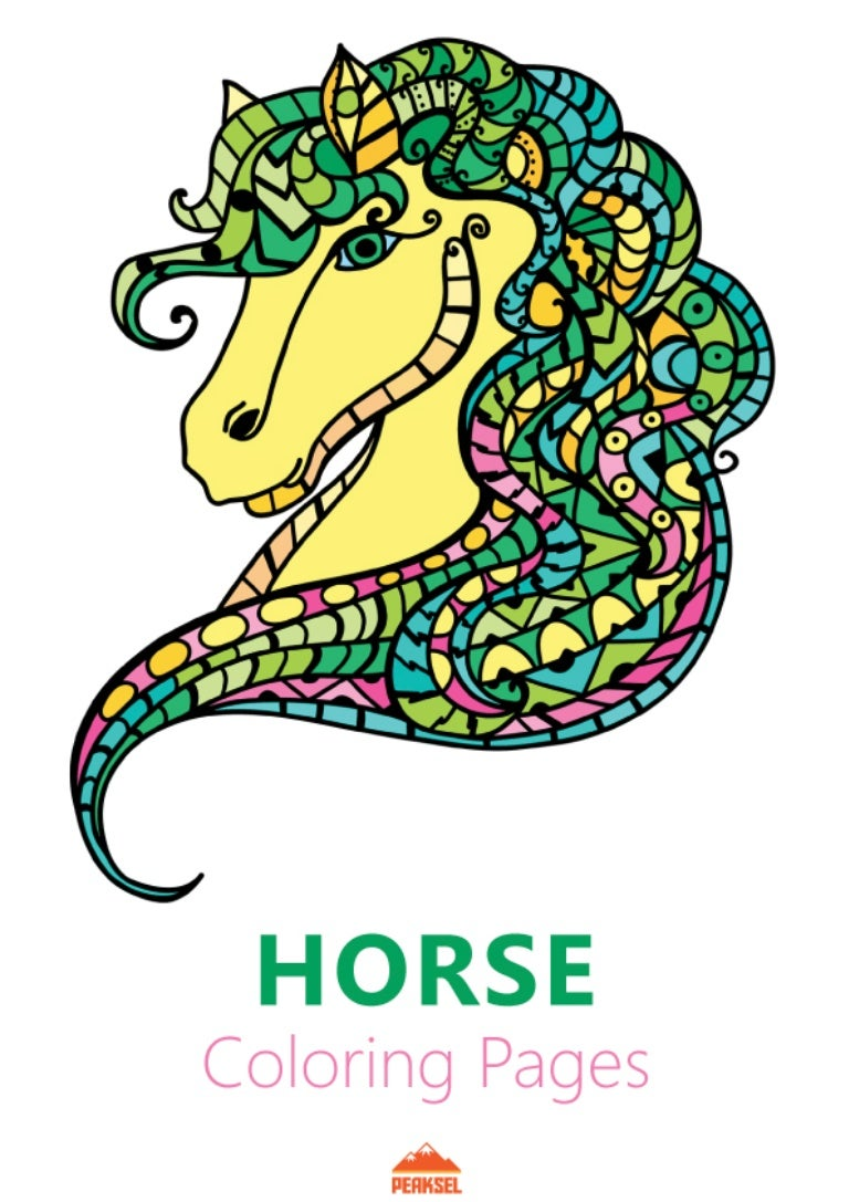 Horse Coloring Pages - Printable Coloring Book for Adults