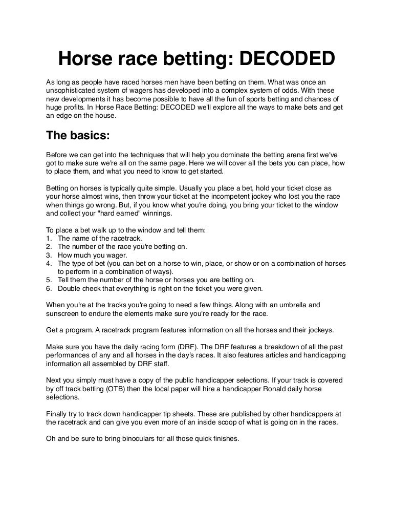 what type of bets on a horse race and how do i make them