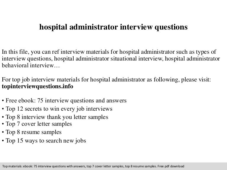 hospital administrator interview questions - Hospital Administration Sample Resume
