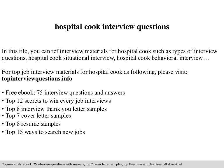 hospital cook interview questions - Hospital Cook Cover Letter
