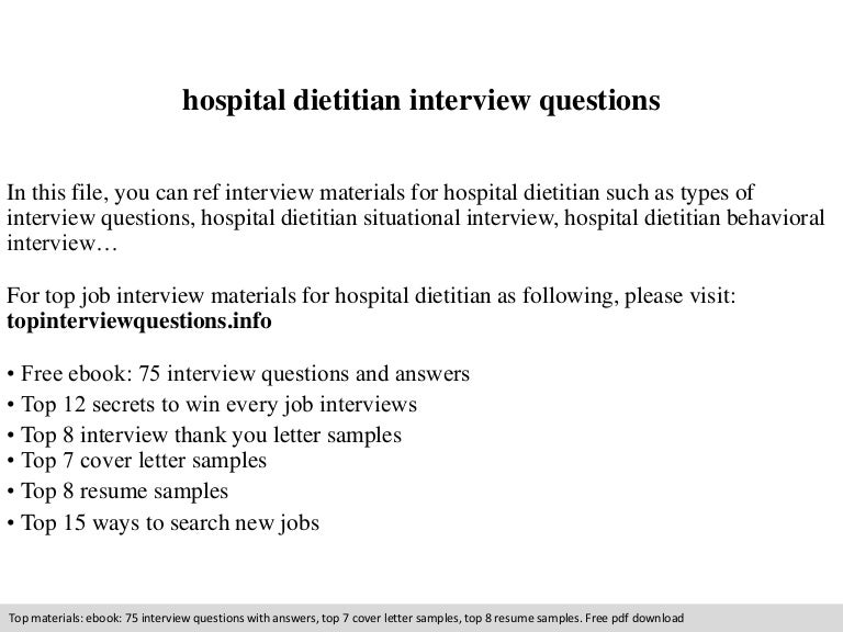Hospital Dietitian Interview Questions