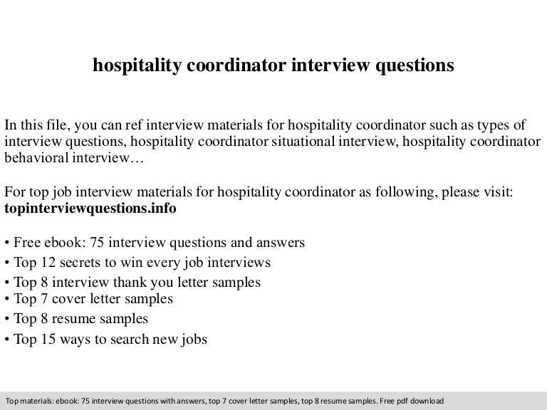 Resume Sample Resume For Hospitality Coordinator hospitality coordinator interview questions