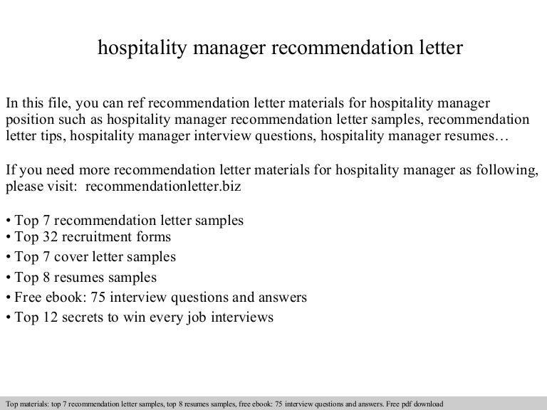 hospitality recommendation letter - Jasonkellyphoto.co