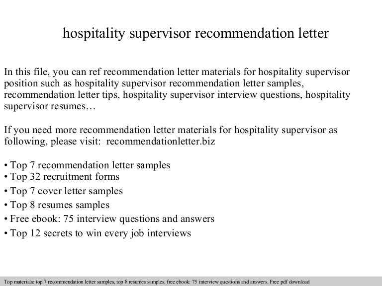 Hospitality Recommendation Letter Sample Sivandearest