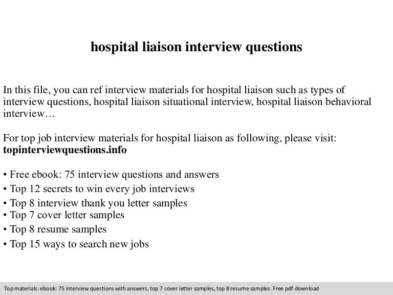 hospital liaison interview questions