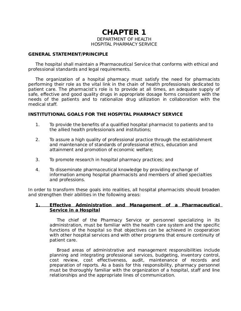 Hospital pharmacy service – Responsibility of a Pharmacist