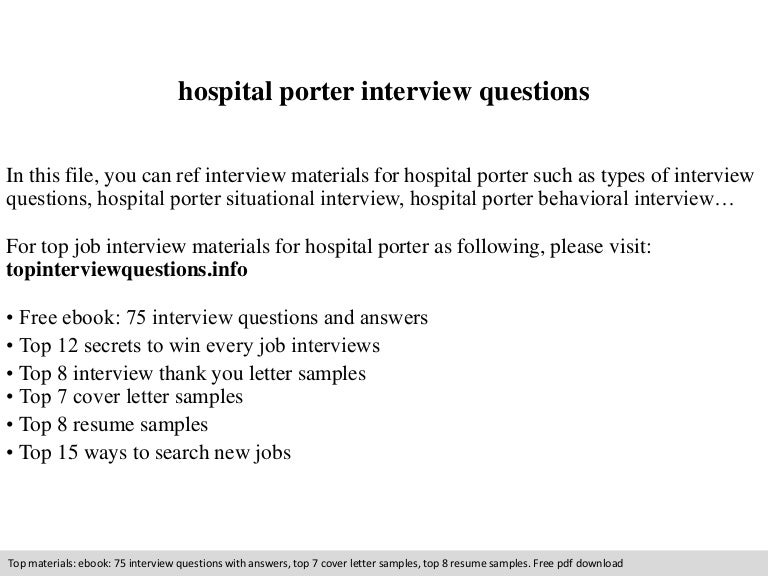 hospital porter interview questions