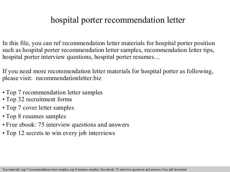 hospital porter resume