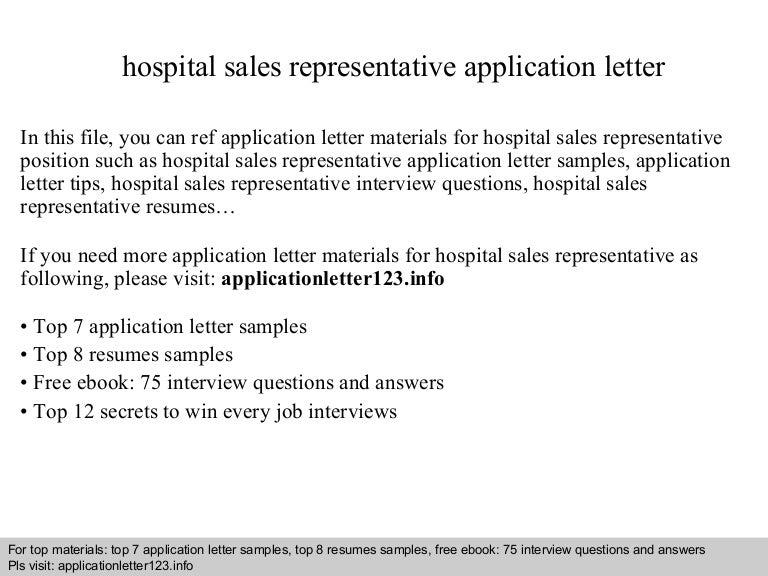 Hospital sales representative application letter