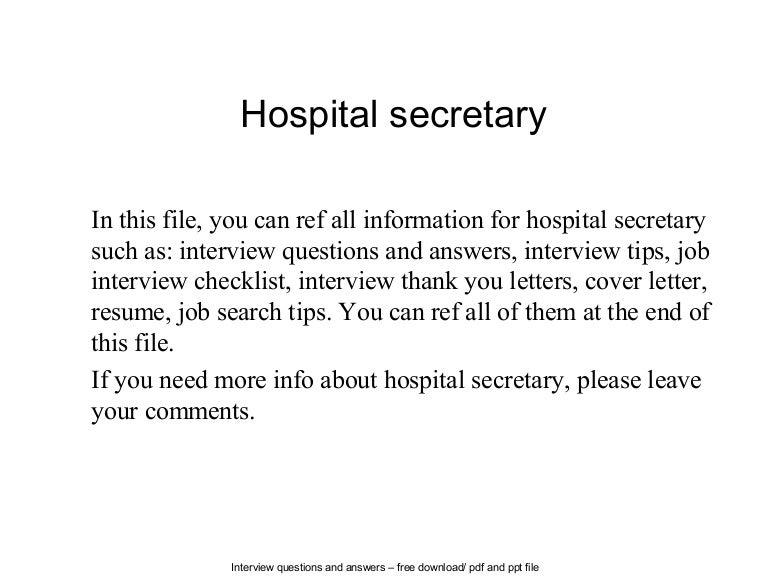hospital secretary