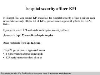 hospital security   linkedinhospital security officer kpi