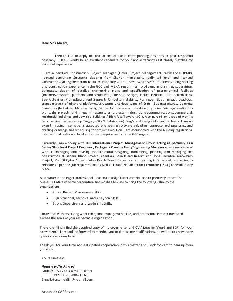 hossam civil structural engineer  cover letter cv