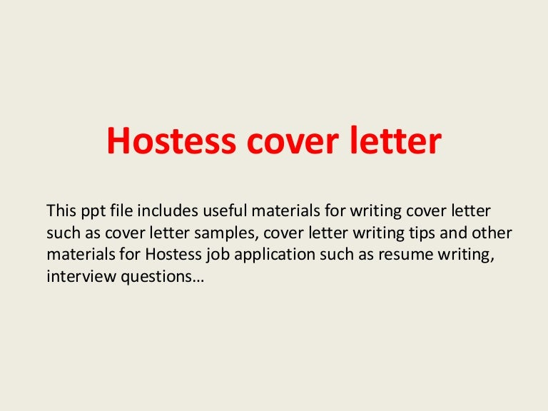 Cover Letter Hostess No Experience