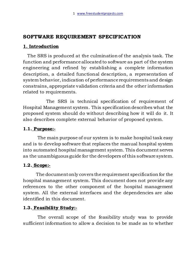 Hostpital Management System Srs