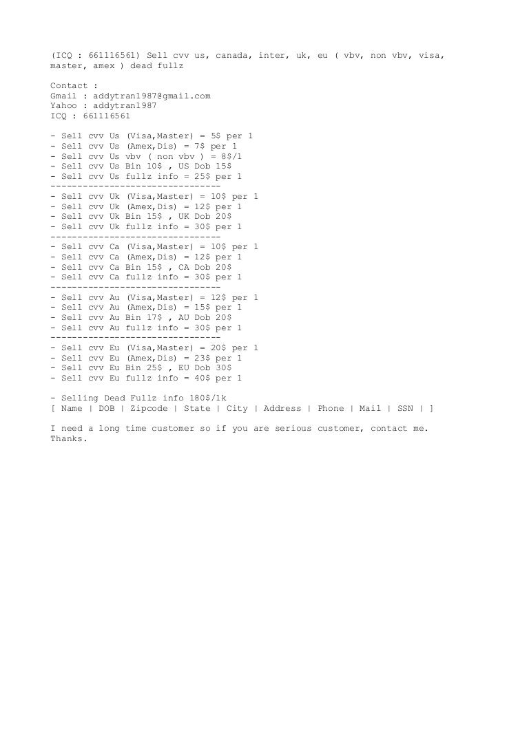 Top Five Uk Cvv Fullz / Fullservicecircus