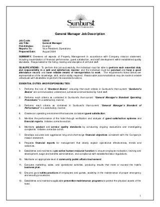 hotel general manager job description