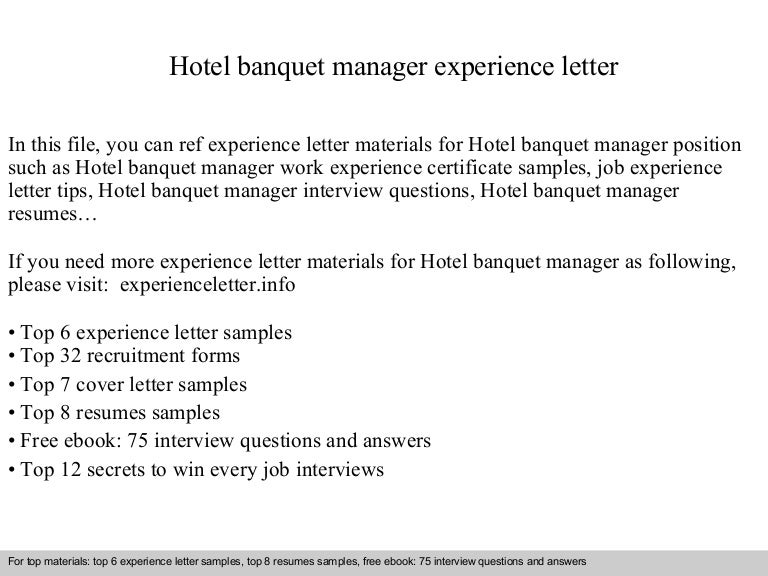 hotelbanquetmanagerexperienceletter 140901123356 phpapp02 thumbnail 4jpgcb1409574859 banquet manager cover letter