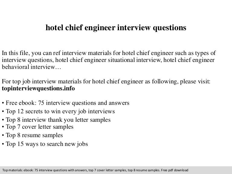 hotel chief engineer interview questions - Assistant Chief Engineer Sample Resume