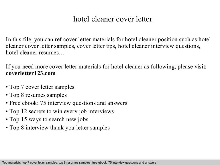 hotel cleaner cover letter