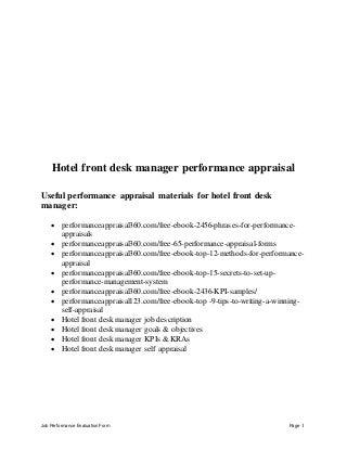hotel front desk   linkedinhotel front desk manager performance appraisal
