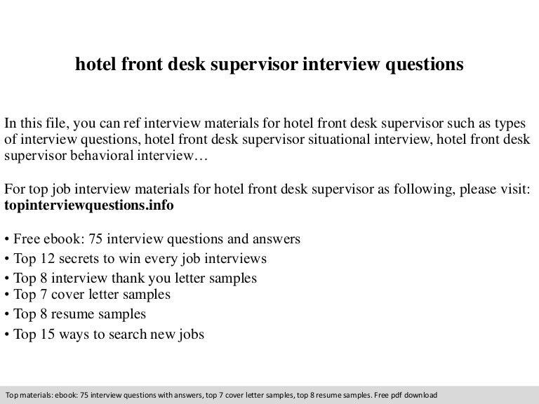 Hotel Front Desk Supervisor Interview Questions