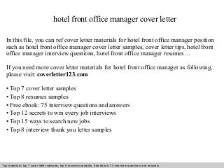 cover letter examples for front desk in a hotel