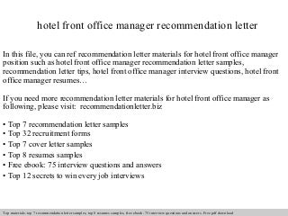 letter of recommendation office manager