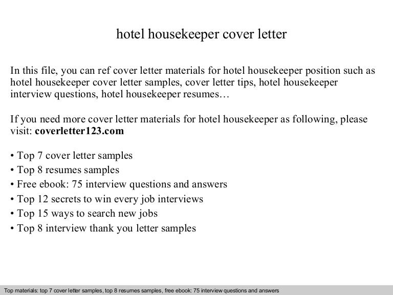 hotel housekeeper cover letter executive housekeeper cover letter
